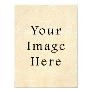 Papel de pergamino poner crema beige del texto de impresiones fotograficas