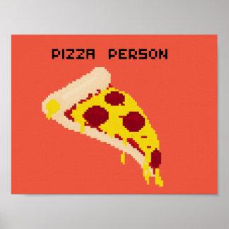 Papel de poster de la persona de la pizza