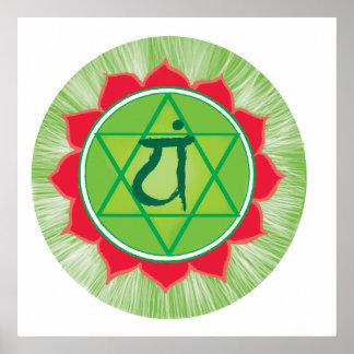 Papel de poster del valor de Chakra del corazón de Póster