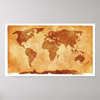 Papel de poster del valor del mapa de Viejo Mundo