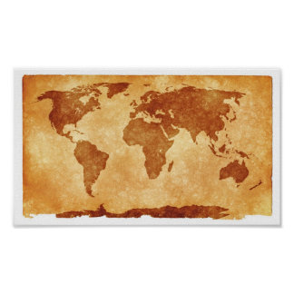 Papel de poster del valor del mapa de Viejo Mundo Póster