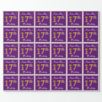 Papel De Regalo 17mo cumpleaños del oro elegante, púrpura, falso +