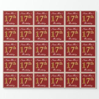 Papel De Regalo 17mo cumpleaños del oro elegante, rojo, falso;