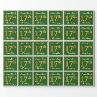 Papel De Regalo 17mo cumpleaños del oro elegante, verde, falso +