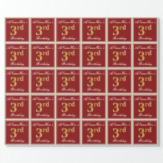 Papel De Regalo 3ro cumpleaños del oro elegante, rojo, falso +