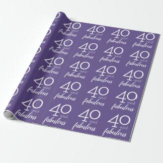 Papel De Regalo 40 y 40.a violeta y blanco fabulosos del