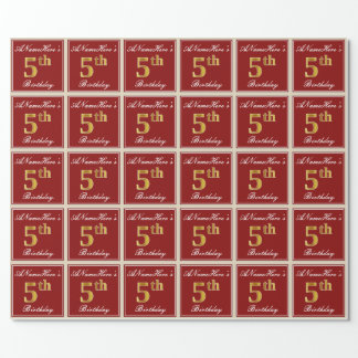 Papel De Regalo 5to cumpleaños del oro elegante, rojo, falso +