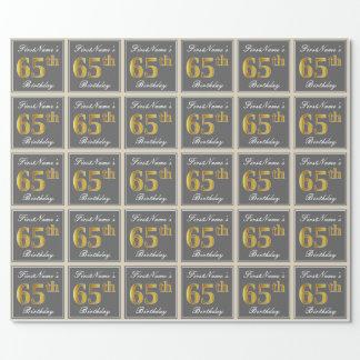Papel De Regalo 65.o cumpleaños del oro elegante, gris, falso +
