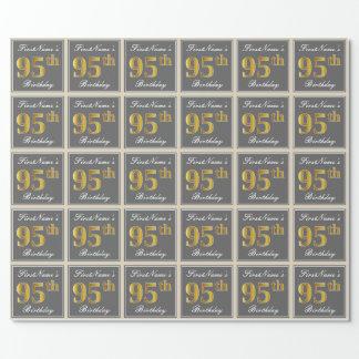 Papel De Regalo 95.o cumpleaños del oro elegante, gris, falso +