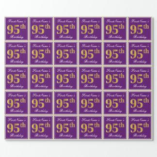 Papel De Regalo 95.o cumpleaños del oro elegante, púrpura, falso +