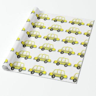 Papel de regalo a cuadros amarillo del taxi de NYC