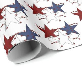 Papel De Regalo Abrigo tejado estrellas patrióticas del fiesta del
