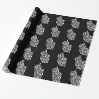Papel De Regalo Abstract Black and White Cat Swirl Monochroom