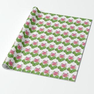 Papel De Regalo Acuarela Lotus rosado con los brotes y las hojas