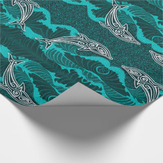 Papel De Regalo Aguamarina brillante Sealife con los delfínes y