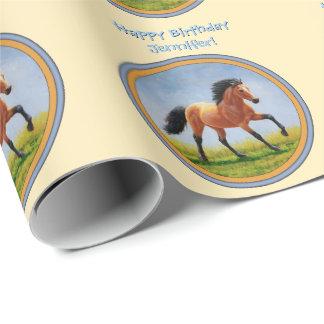 Papel De Regalo Amarillo corriente del caballo del ante