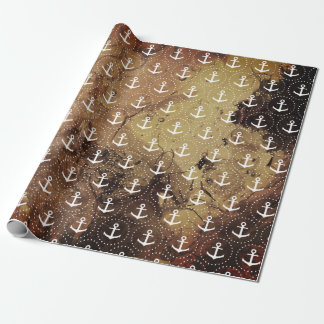 Papel De Regalo Ancla en el fondo ambarino de la textura