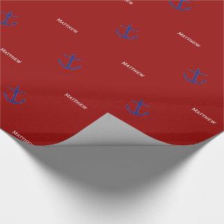 Papel De Regalo Anclas azules náuticas en el rojo personalizado