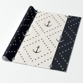 Papel De Regalo Anclas náuticas en crema y negro de los diamantes