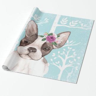 Papel De Regalo Animal feliz con las flores en Bosque-Perro-Barro