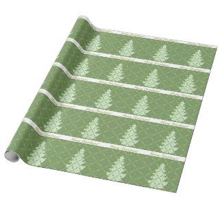 Papel De Regalo Árbol de navidad verde del modelo del damasco