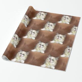 Papel De Regalo Arte del gatito de Ragdoll