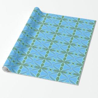 Papel De Regalo Arte floral azul y verde