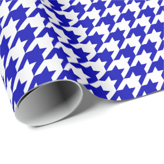 Papel De Regalo Azul real medio y blanco Houndstooth