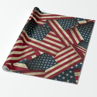 Papel De Regalo Banderas americanas apenadas