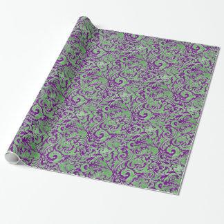 Papel De Regalo Batik floral verde púrpura
