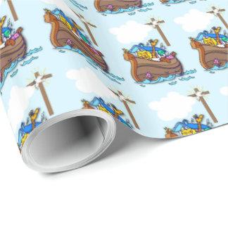 Papel De Regalo Bautismo de la arca de Noah, azul del muchacho