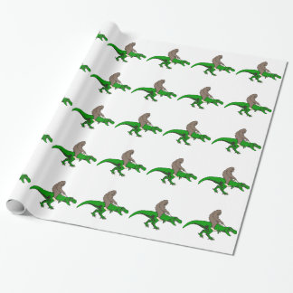 Papel De Regalo Bigfoot que monta T Rex