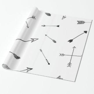 Papel de regalo blanco y negro de la flecha