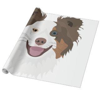 Papel De Regalo Border collie feliz de la cara de los perros del