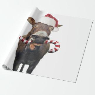 Papel De Regalo Burro del navidad - burro de santa - burro santa