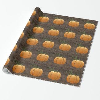 Papel De Regalo Calabaza de madera rústica del otoño del oro