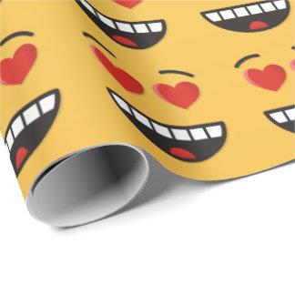 Papel De Regalo Cara sonriente con los ojos en forma de corazón