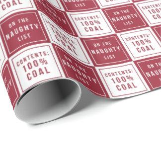 Papel De Regalo Carbón travieso 100% de la lista navidad rojo y