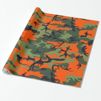 Papel De Regalo Cazador del naranja del camuflaje