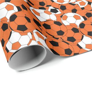 Papel De Regalo Collage anaranjado del balón de fútbol