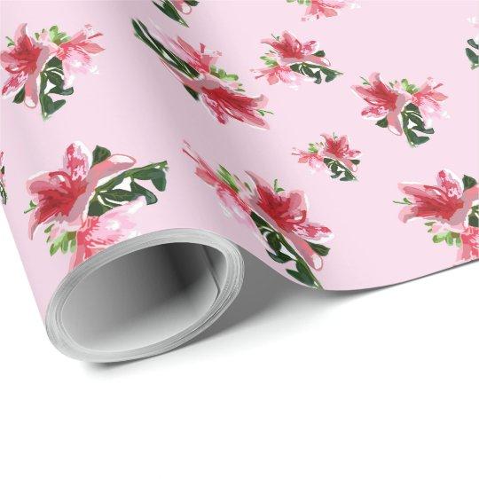 Papel de regalo con azaleas