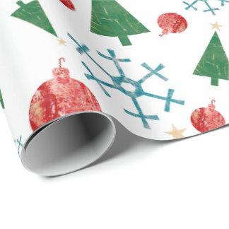 Papel de regalo con los copos de nieve, los