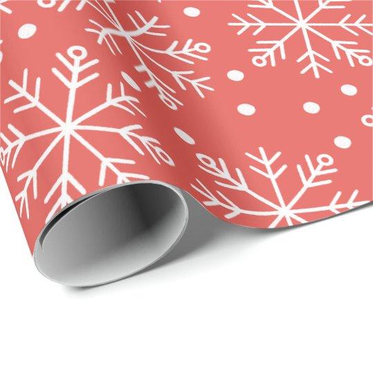 Papel De Regalo Copo de nieve de encargo del color del navidad