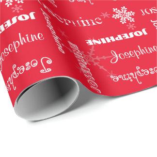 Papel De Regalo Copos de nieve blancos personalizados color w/Name