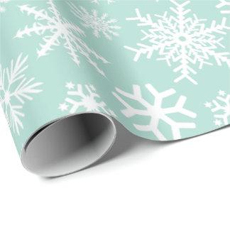 Papel De Regalo Copos de nieve del blanco de la verde menta