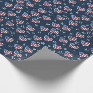 Papel De Regalo Corazón de la bandera americana
