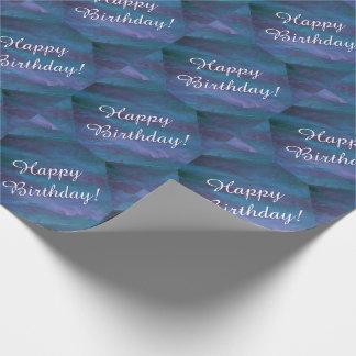 Papel De Regalo Cumpleaños púrpura azul enérgico de la tormenta de