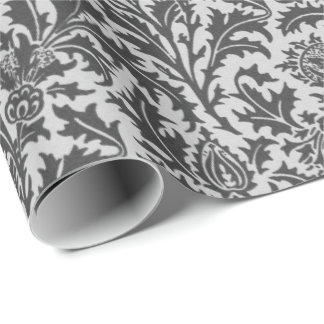 Papel De Regalo Damasco del cardo de William Morris, gris