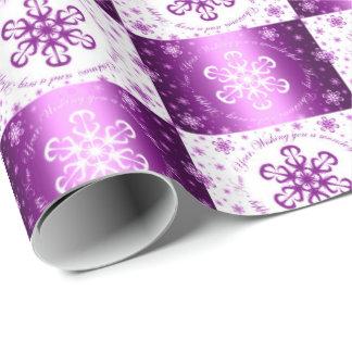 """Papel De Regalo """"Deseándole las Felices Navidad"""" púrpura y blanco"""