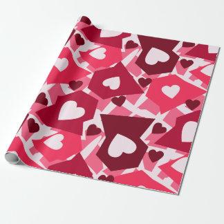 Papel De Regalo Día de San Valentín rosado y rojo de los corazones